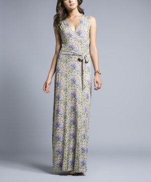 Leota Lavender Vintage Peacock Surplice Maxi Dress by Leota #zulily #zulilyfinds