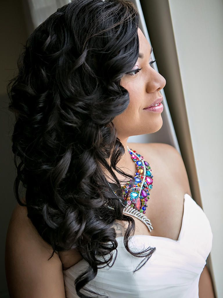 35 Wedding Hairstyles To Show Off Your Curly Hair Long Hair Styles Curly Wedding Hair Black Wedding Hairstyles