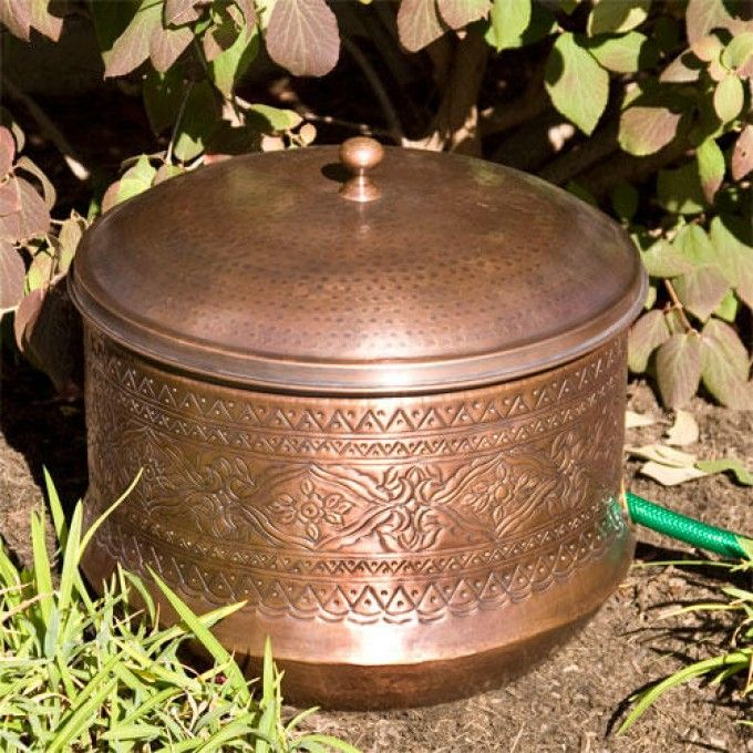 Etonnant Floral Hammered Copper Hose Pot With Lid | Garden Hose, Antique Copper And  Floral