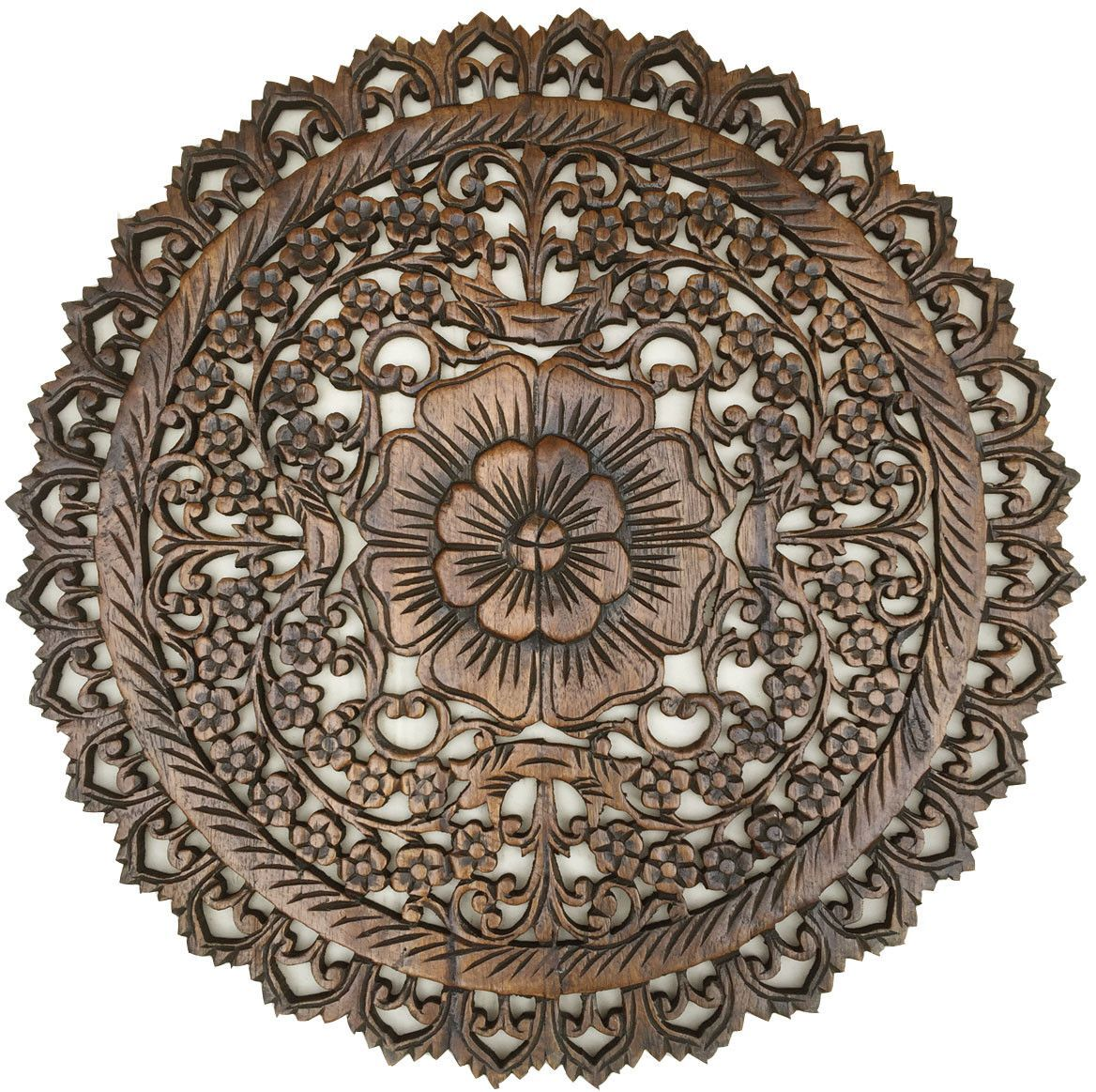 Decorative Wall Plaques oriental round carved wood wall decor. decorative floral wall