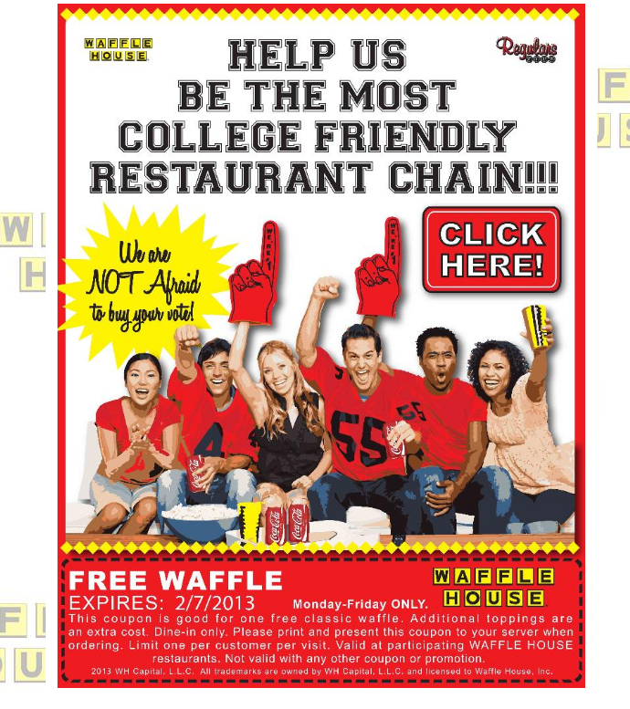 Waffle House Deal! Waffle house, Free printable coupons