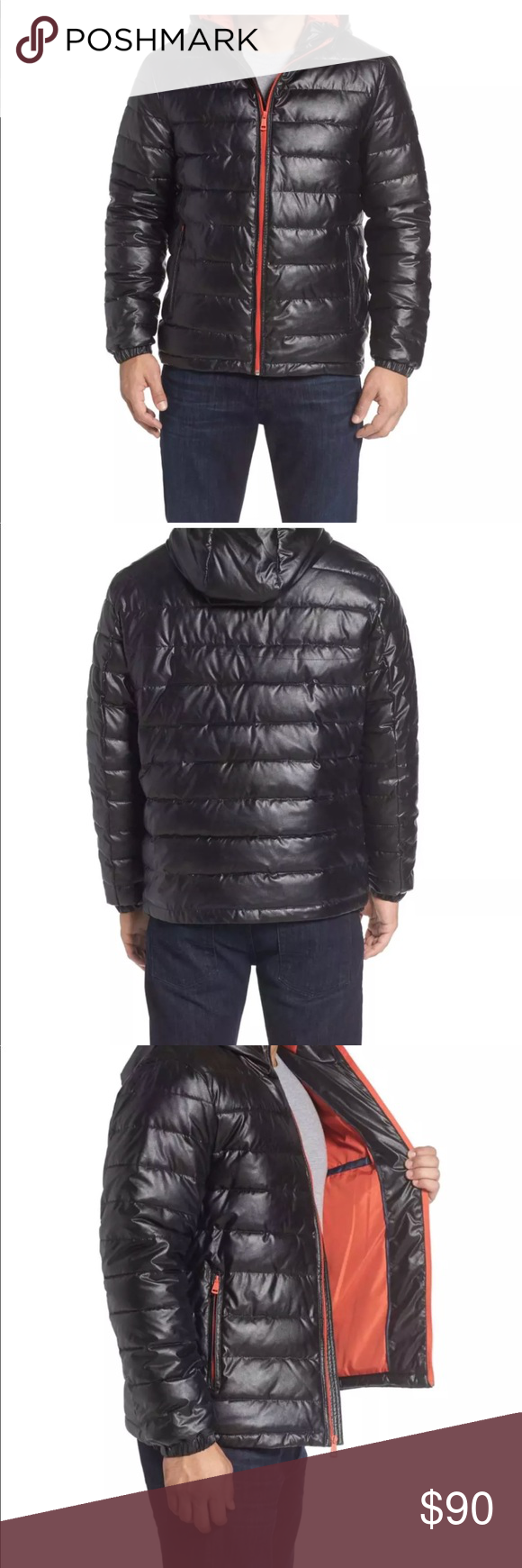 COLE HAAN Black Faux Leather Quilted Puffer Jacket (With