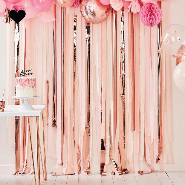 Backdrop Streamer Pink Rose Gold Mix It Up Gouden Feest Decoraties Ballonachtergrond Serpentines