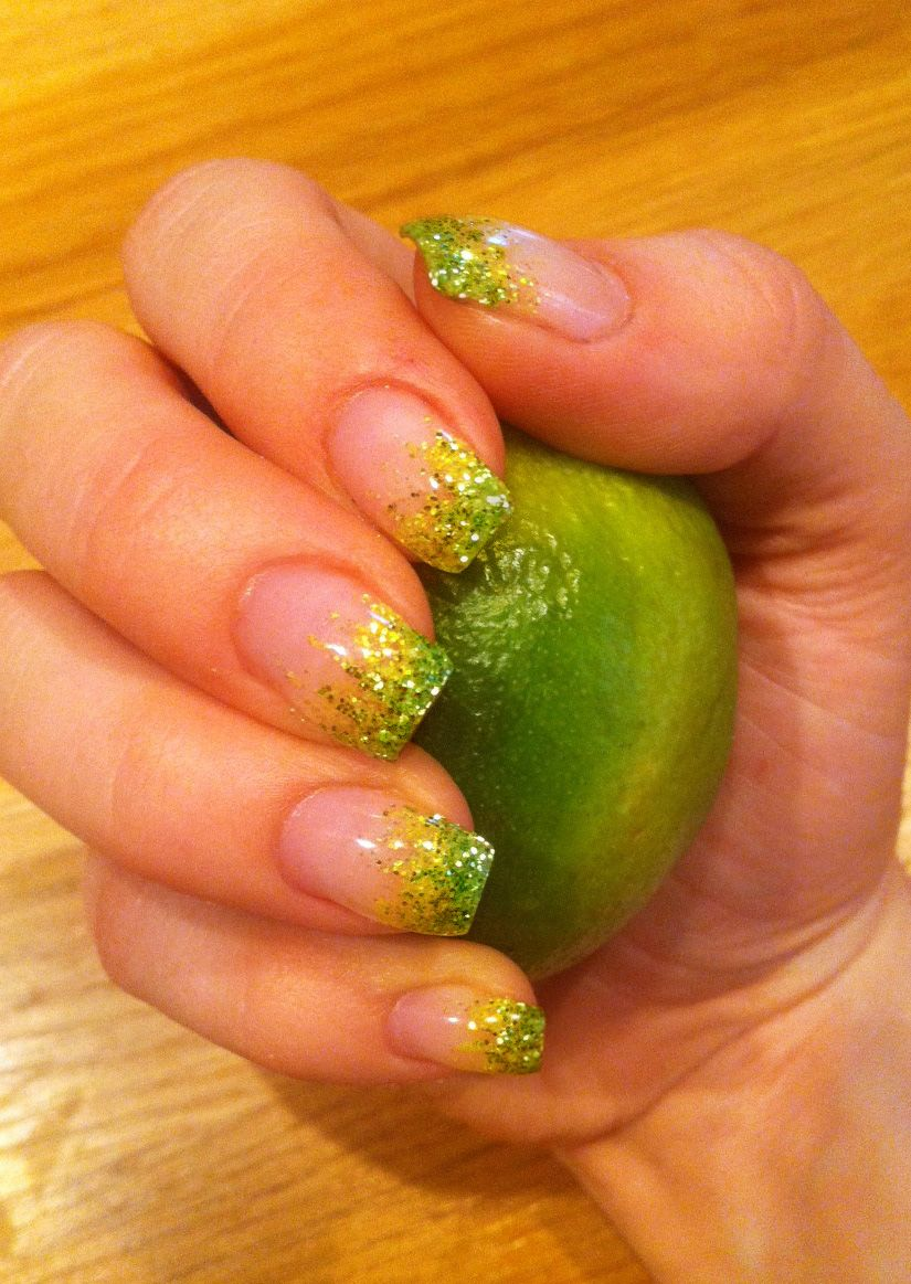 Lime green and yellow nails / nail art glitter bling tip tips. I did ...