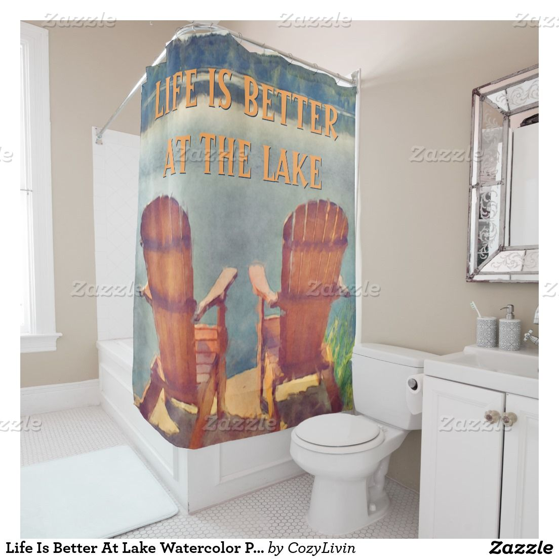 Life Is Better At Lake Watercolor Painting Shower Curtain Ornate