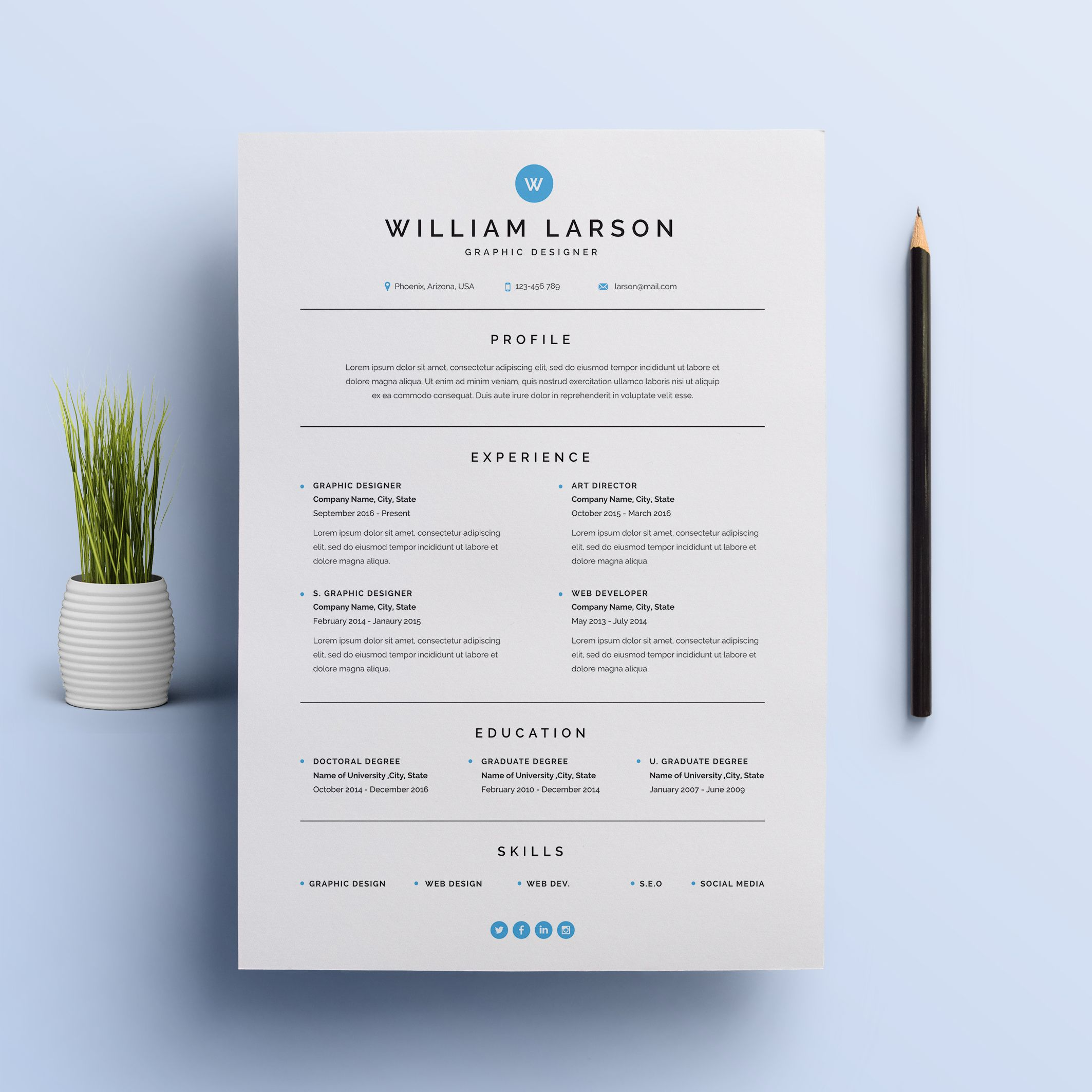 really like this simple clean resume design for more resume design