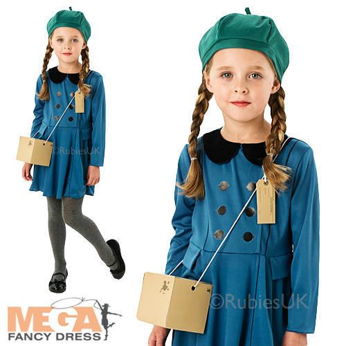 Evacuee Girl Fancy Dress World War 2 Childrens 1940s Kids Book Costume Outfit Wwii Radio