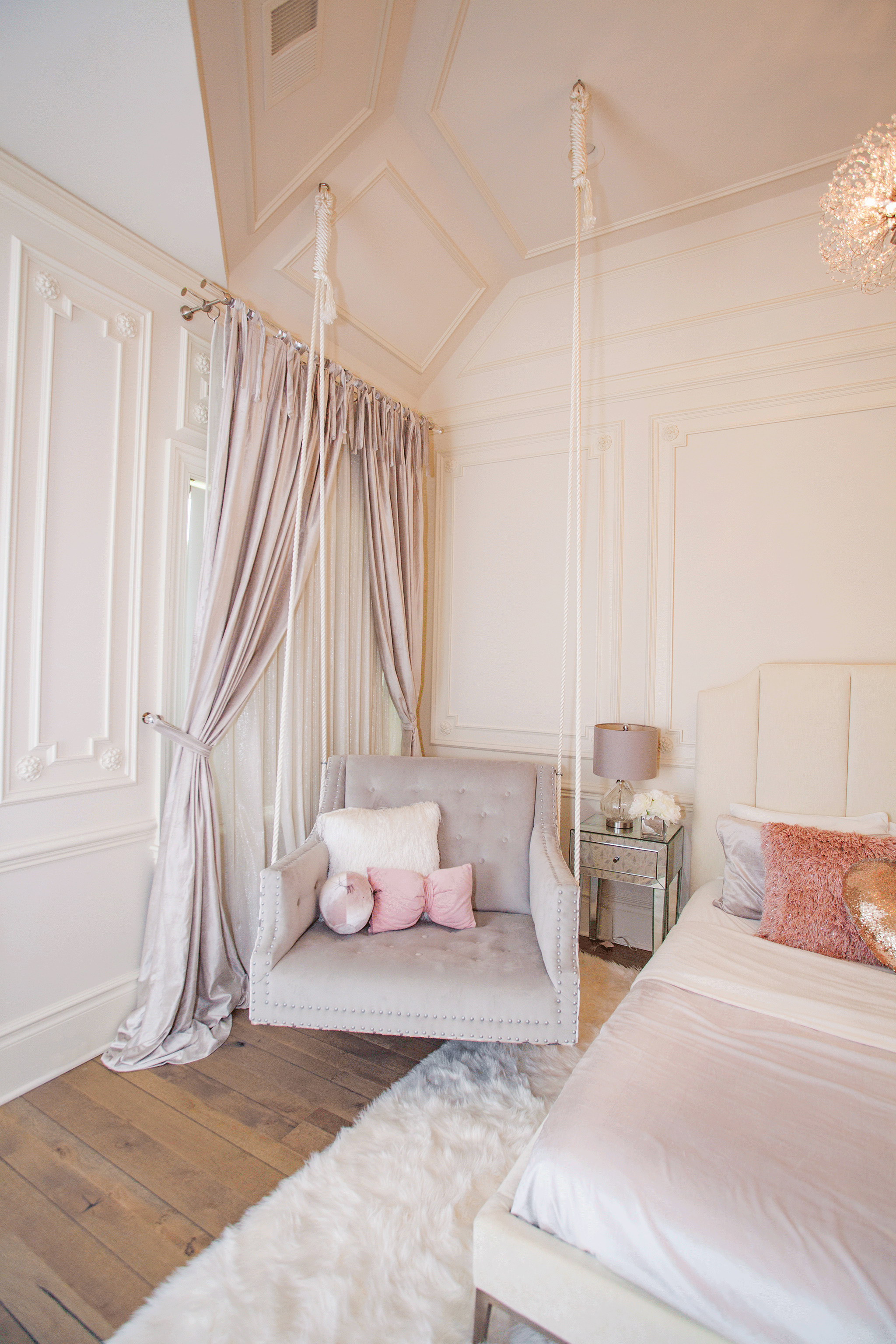 This Luxurious Girl S Room Will Give You Serious Room Envy Project Nursery Room Swing Stylish Bedroom Girl Room
