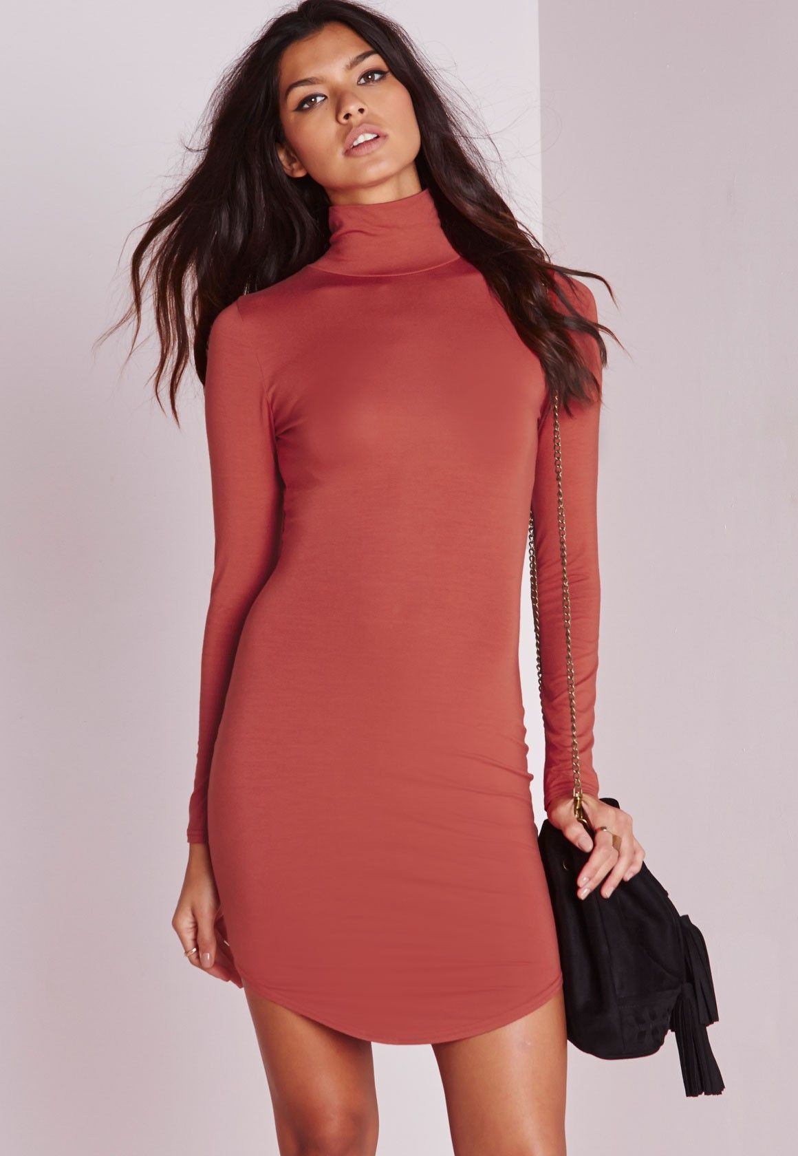 Missguided curve hem roll neck bodycon dress rust clothes
