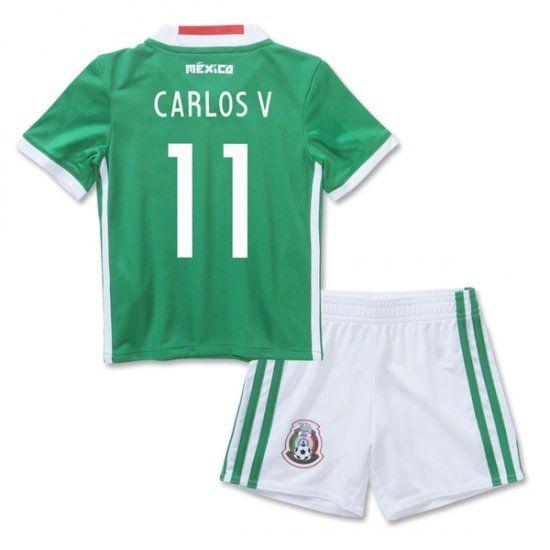16-17 Mexico Soccer Team Home Replica Shirt Kids Kit  11 CARLOS V 16 ... dc77e282e