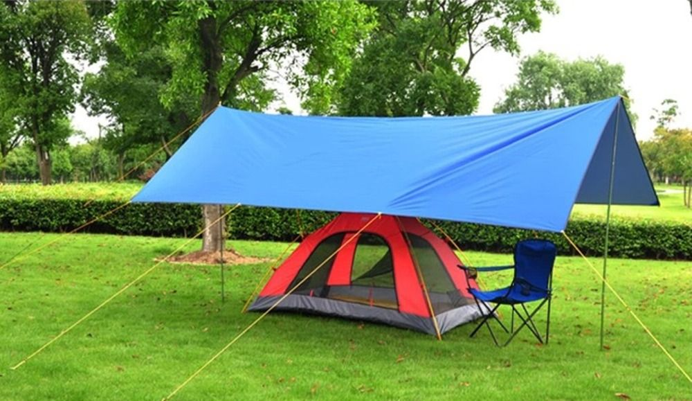 Blue 4x3M Oxford Tarp Tent Canopy Cover C&ing Ground Sheet Mat . & Blue 4x3M Oxford Tarp Tent Canopy Cover Camping Ground Sheet Mat ...