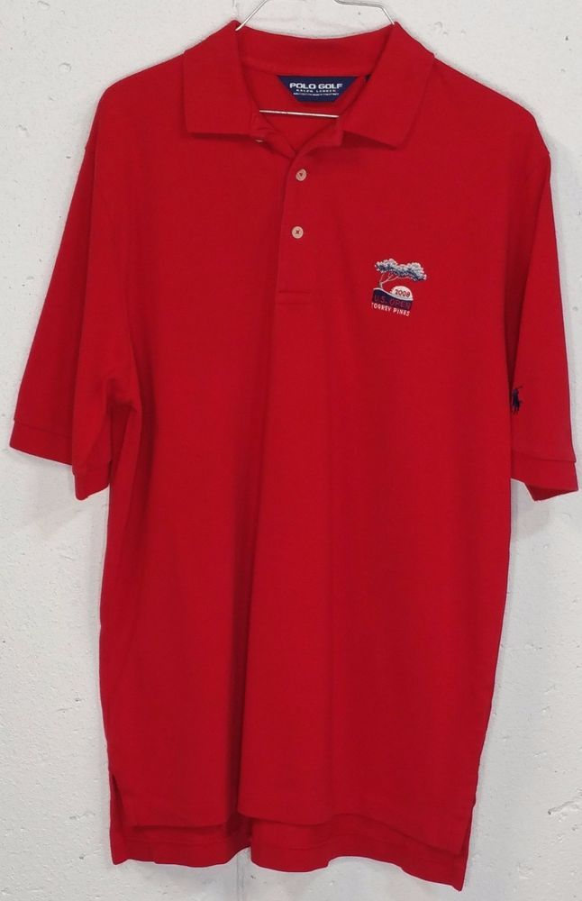 Polo Golf Ralph Lauren US Open Torrey Pines Mens Red Short Sleeve Polo Shirt M #PoloGolf #PoloRugby