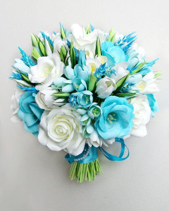Sky Blue wedding bouquet, aqua blue bouquet, aqua marine bouquet ...