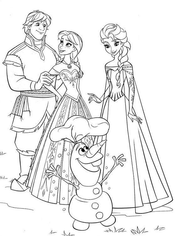 Coloriage Reine Des Neiges Elsa Anna Kristoff Olaf Disney