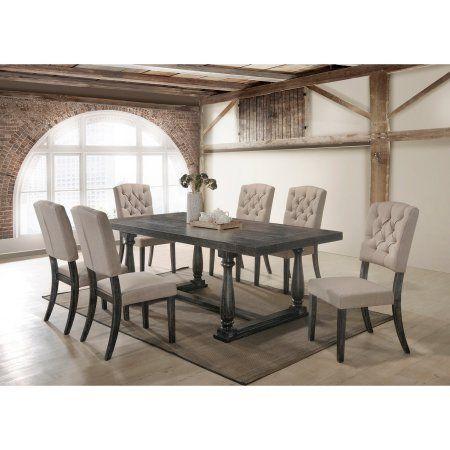 Best Master Furniture Katrina Weathered Oak 7 Pieces Dining Set