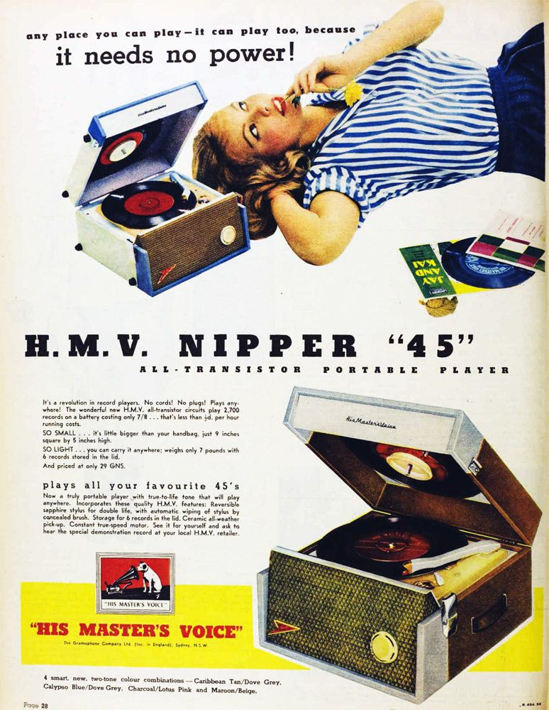 1958 Hmv Nipper Vamps N Vinyl Turntable Record Player