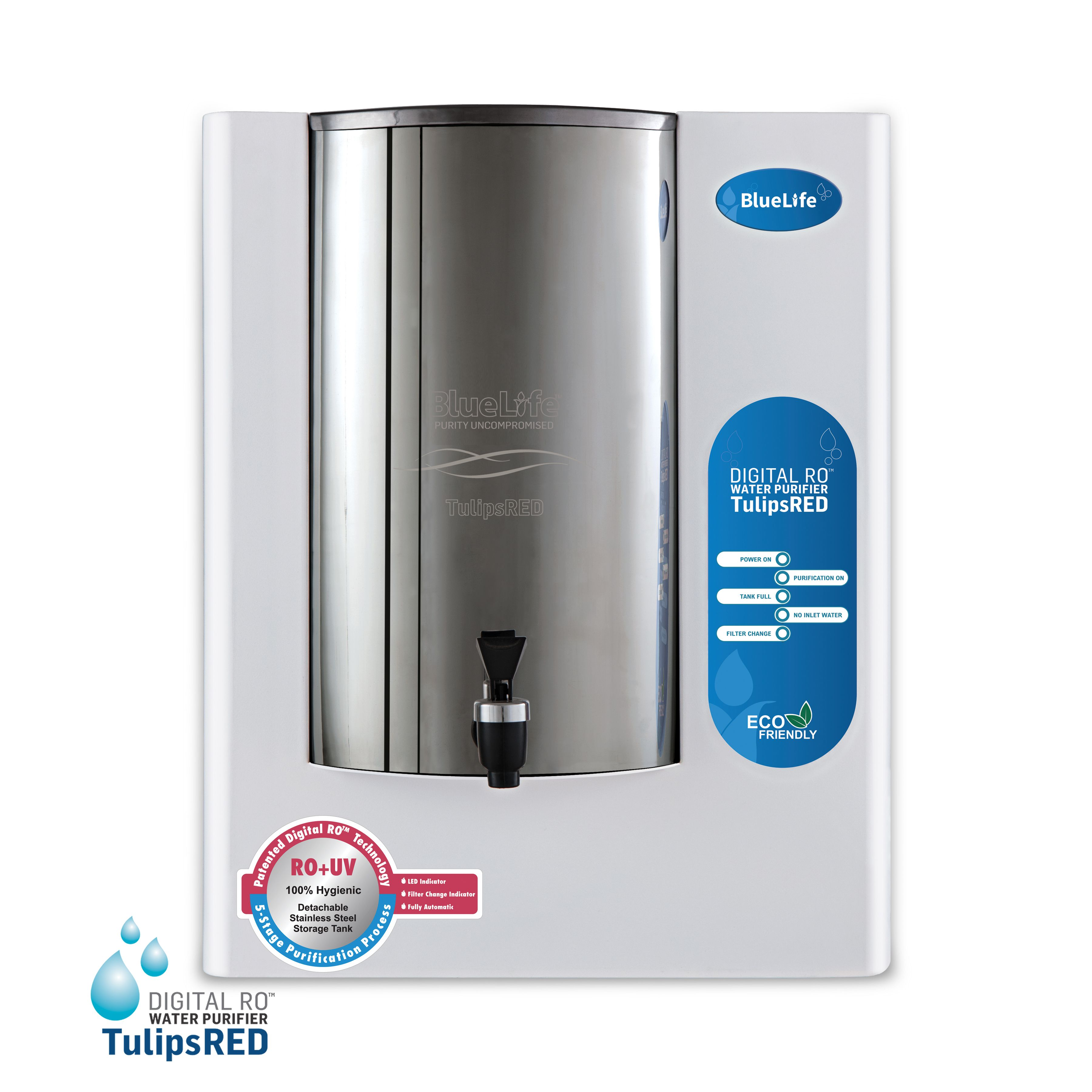 BlueLife TulipsRED, Digital RO+UV Water Purifier with Detachable ...