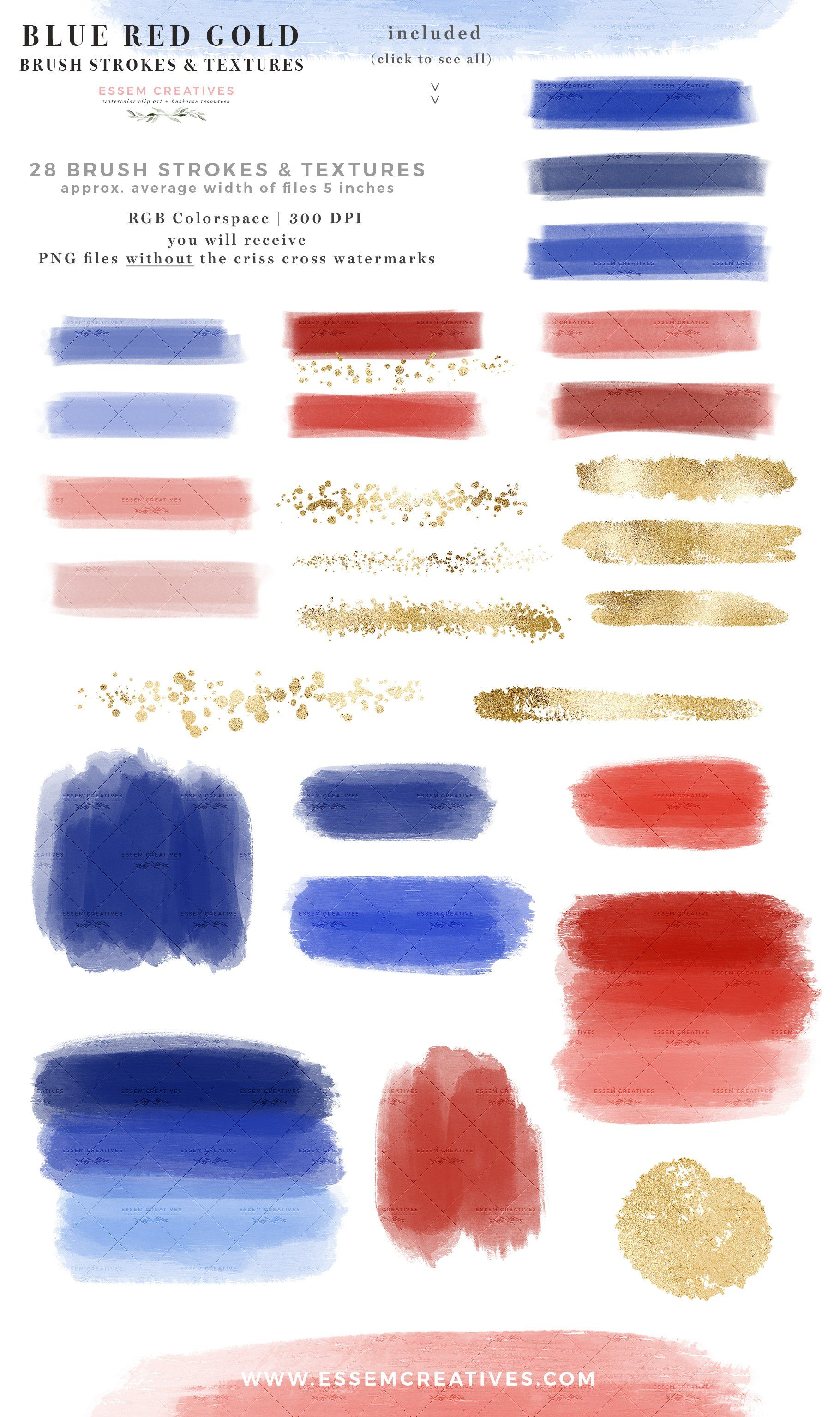 Blue Red Gold Brush Stroke Graphics Digital Watercolor Garden
