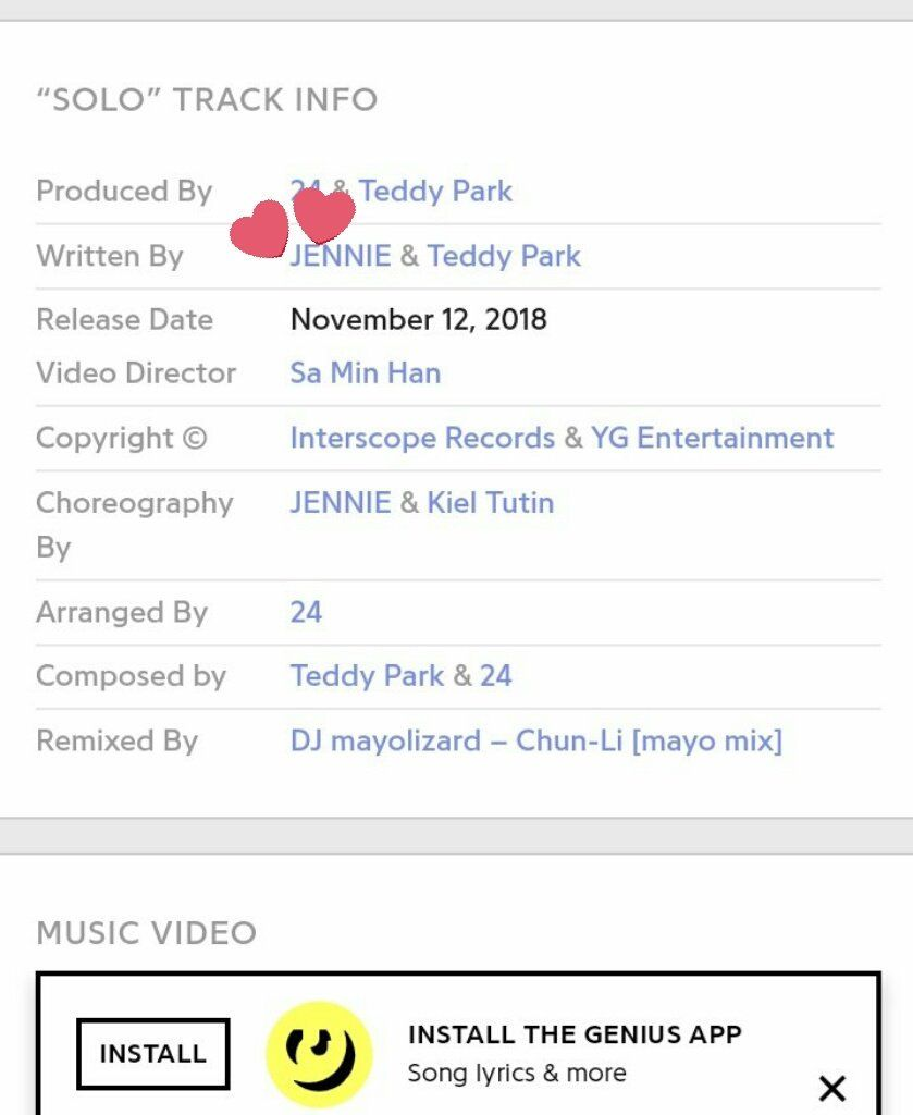190526 Genius updated SOLO song info to give co-writing