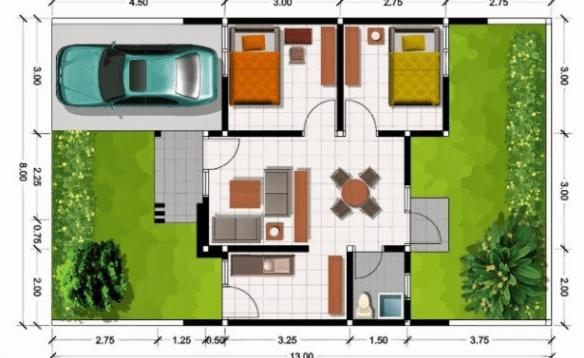 20 Gambar Denah Rumah Ukuran 8x10 3 Kamar Tidur 8 Desain Rumah Minimalis Denah Rumah Rumah Minimalis Desain Rumah