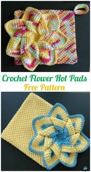 Crochet Flower Hot Pads Free Pattern - #Crochet Pot Holder Hotpad ...