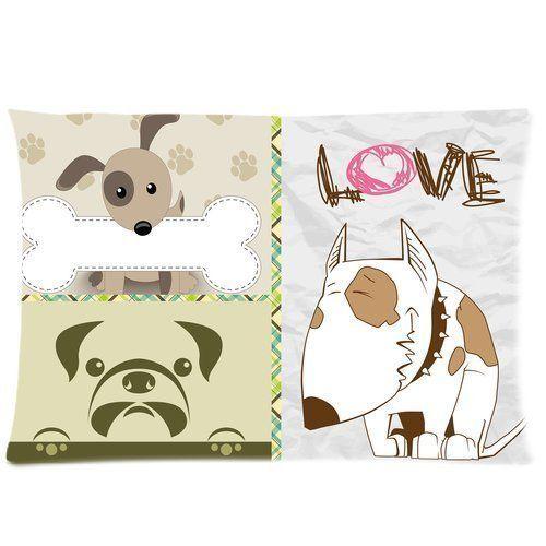Design Pillowcase Rectangle: Bedroom Decor Custom Cute Dogs Pillowcase Rectangle Zippered Two    ,