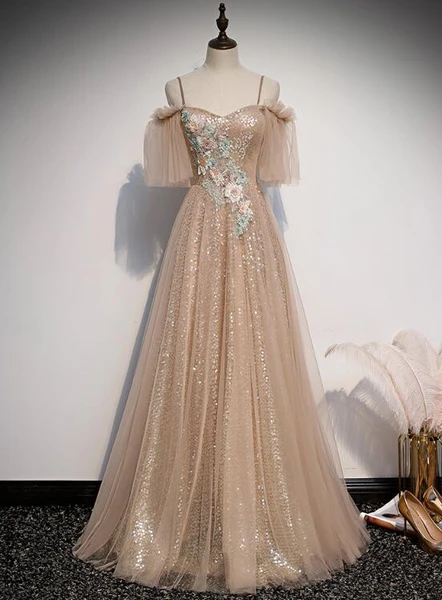 Charming Champagne Tulle and Sequins Long Party Dress, A-line Prom Dress 2020
