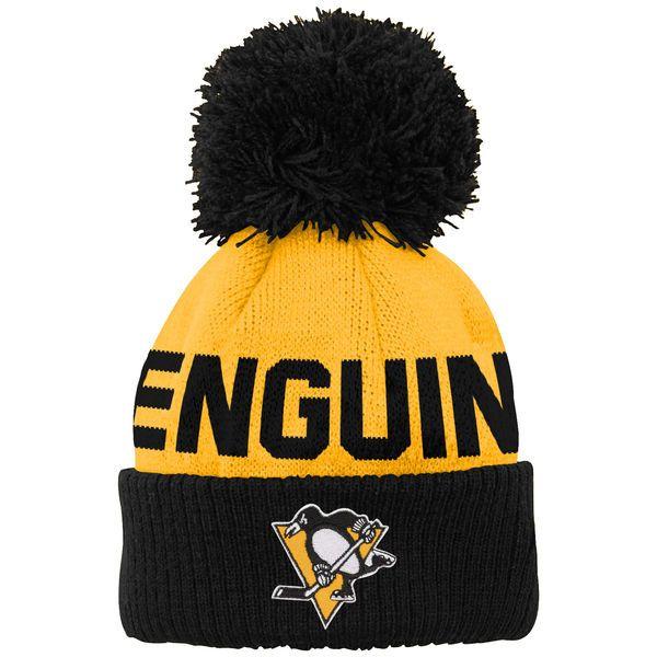 5696131868c ... buy buy pittsburgh penguins newborn infant block wordmark cuffed pom  knit hat gold e7ffe 97195 27ab3