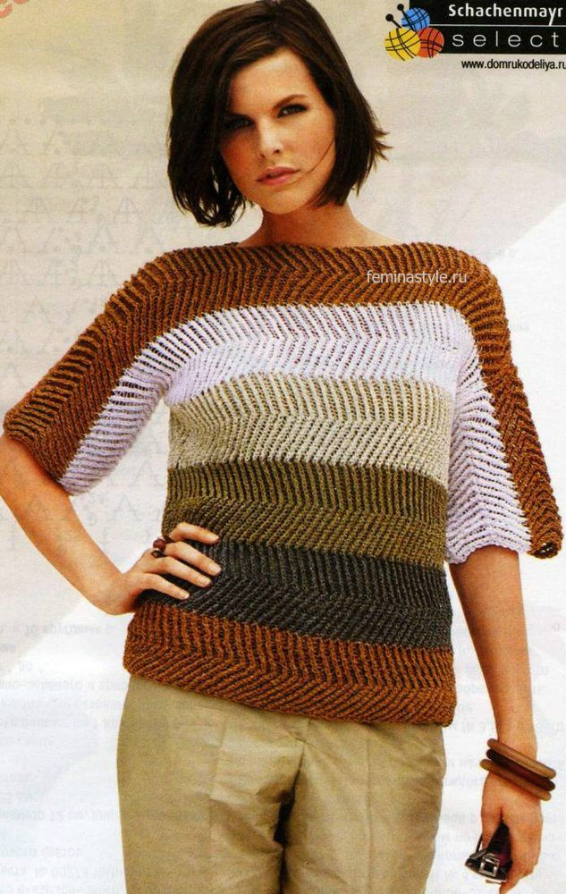джемпер со спущенным плечом спицами Knitting Patterns вязание