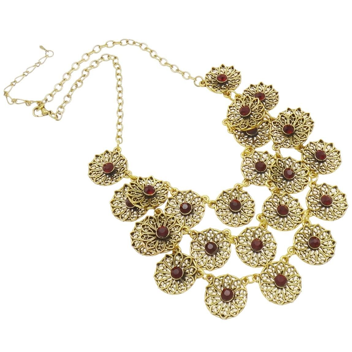 Gold Tone Victorian Revival Ruby Rhinestone Bib Necklace $24.00