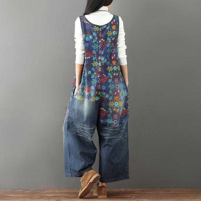 Veröffentlichungsdatum kosten charm verschiedenes Design Laie Wide Leg Denim Overall Vintage Printed Flower Jumpsuits ...
