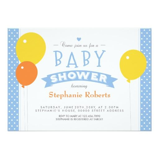Blue Dotted Baby Shower Photo Invite with Balloons