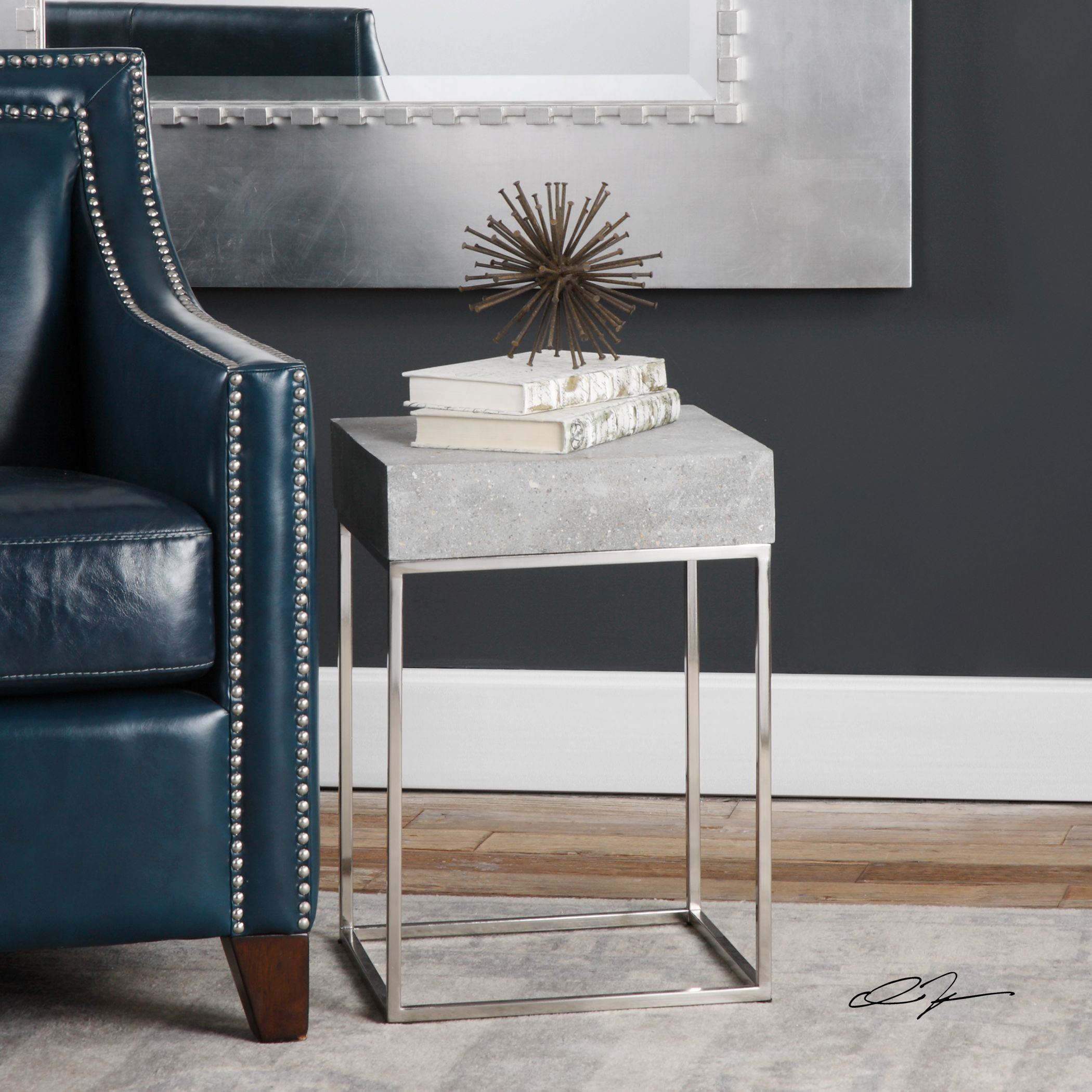 Uttermost Jude Concrete Accent Table (Accent Table), Silver
