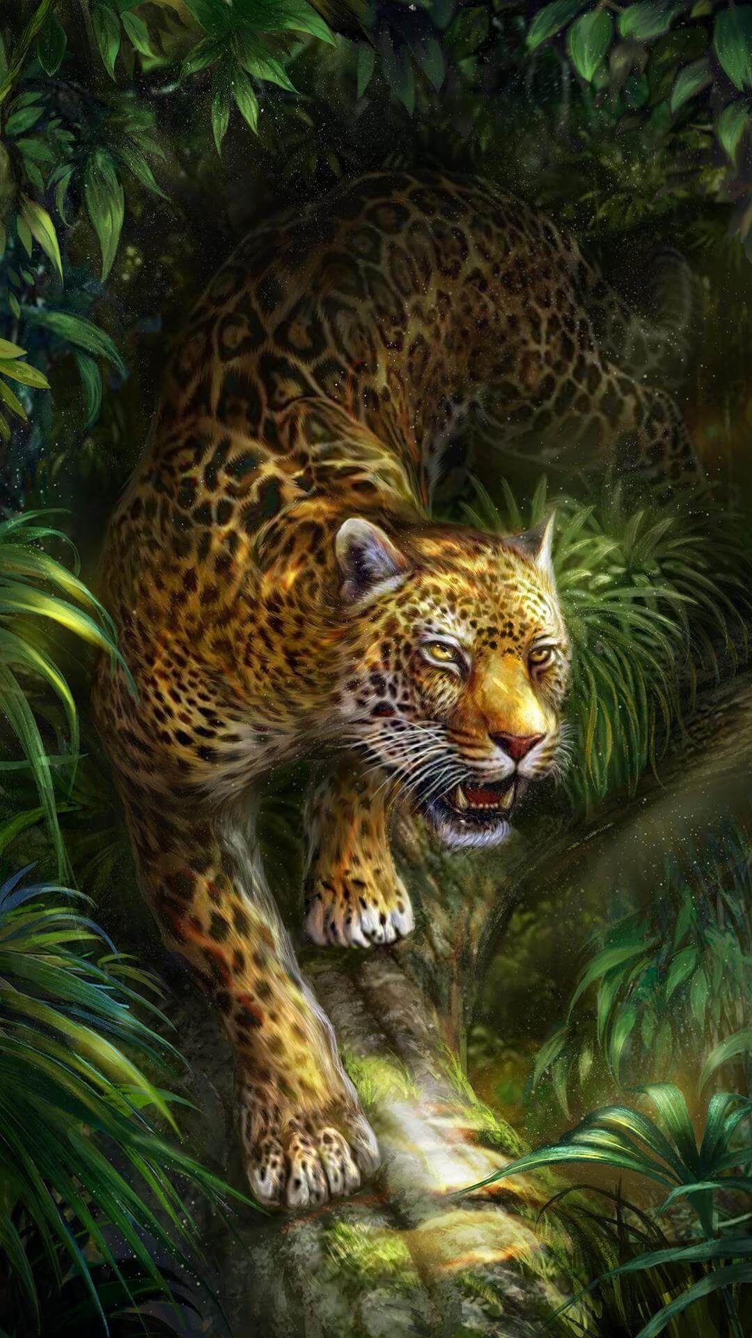 Slinky leopard in the forest! Live wallpaper! Jaguar