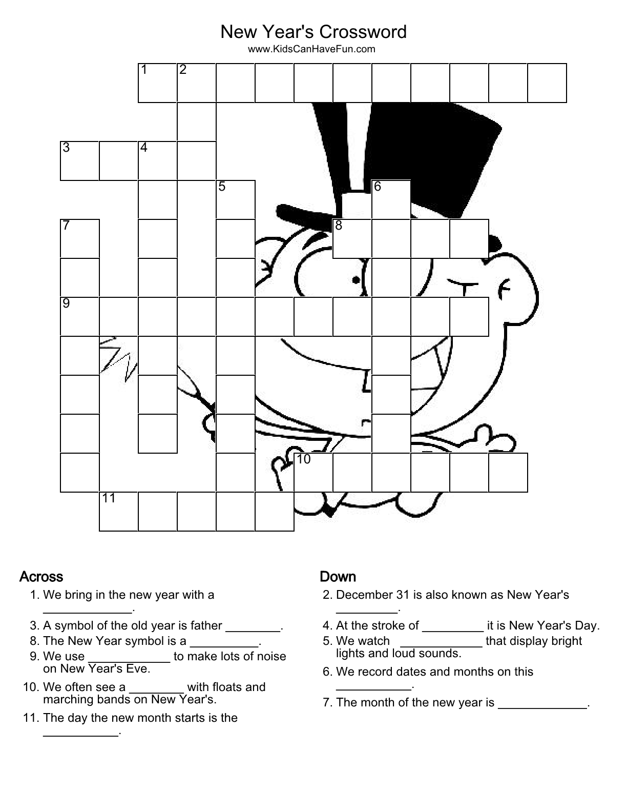 New years crossword puzzle httpkidscanhavefun fun crossword puzzles for kids that are easy to do and help make learning fun kids can choose from educational holiday and online crosswords biocorpaavc