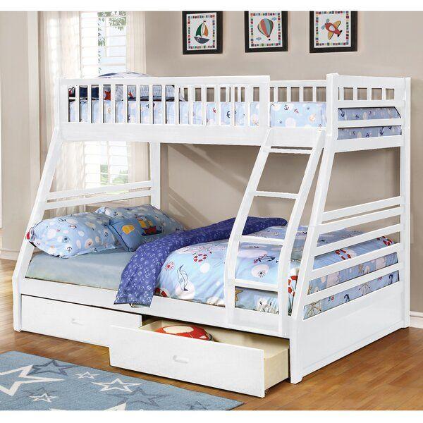Claret Twin Over Full Bunk Bed With Drawers Tempat Tidur Tingkat