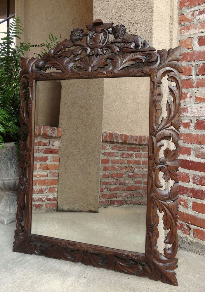 Antique French Open Carved Oak Wall Pier Mirror Rampant