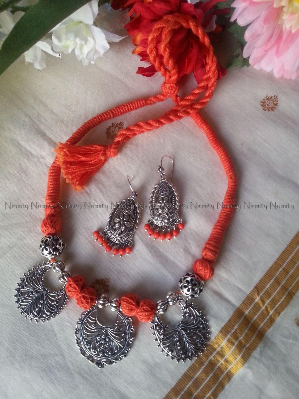 09a982c06 Orange thread jewelry-Indian jewelry-thread jewelry-Unique Statement  necklace-thread necklace-dori necklace-oxidized metal jewelry by NIRMITY on  Etsy