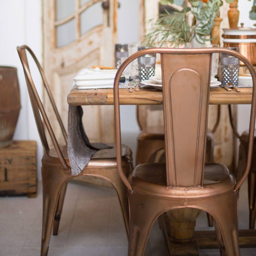 Copper Industrial metal dining chair vintage inspired industrial style dining chair available in a choice of metallic finishes from copper and brass to ... & A Pair Copper Or Brass Industrial Dining Chair | INTERIOR DESIGN ...
