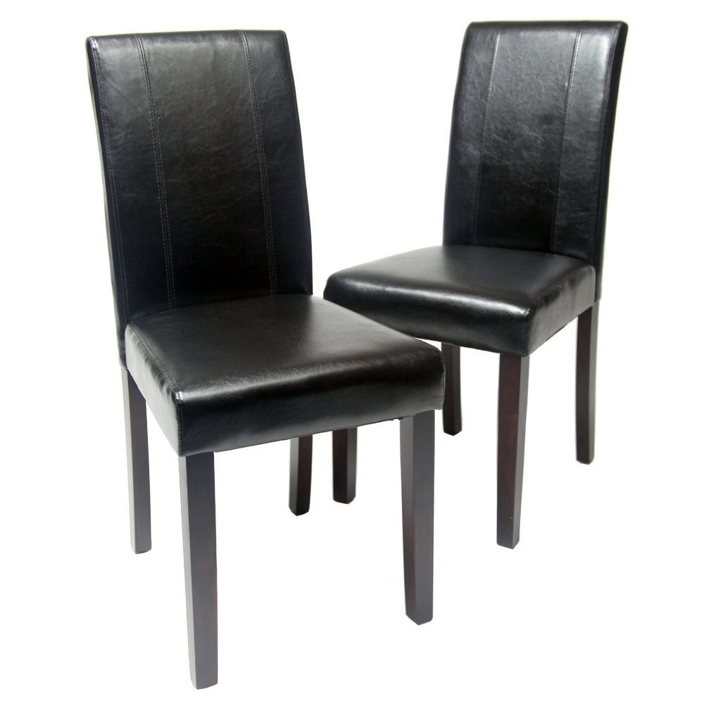 Roundhill Urban Style Solid Wood Leatherette Padded Parson Chair, Black set of 2 #Roundhill #UrbanStyle