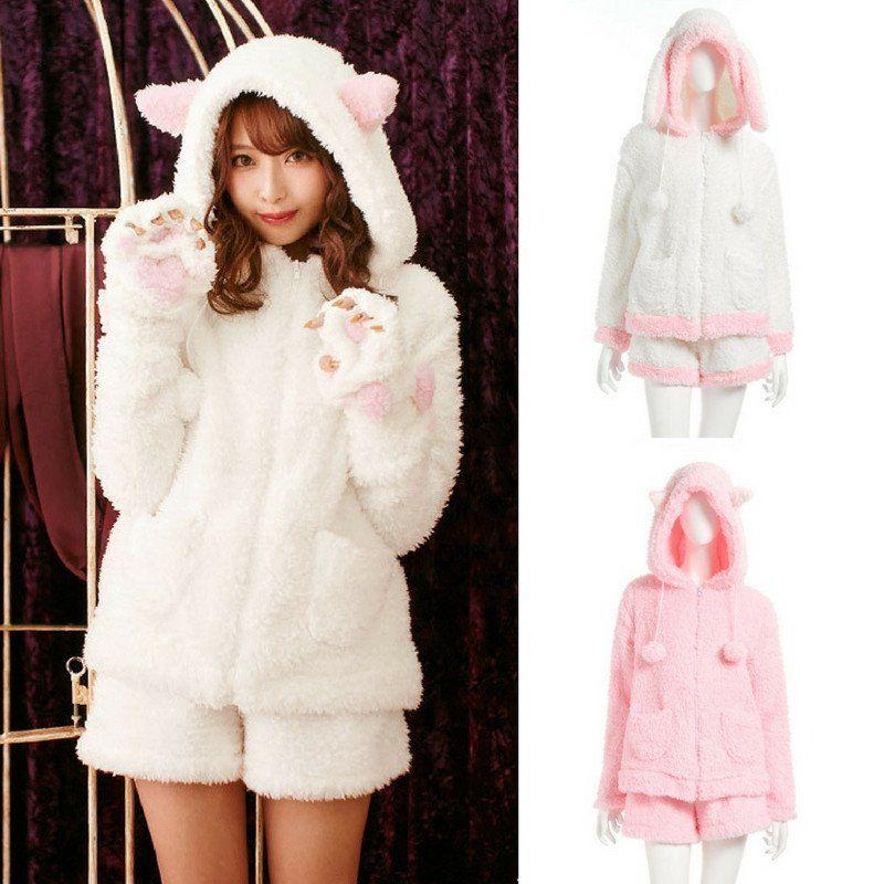 75c5cc8062400 White Pink Kawaii Fleece Homewear Pajamas Set SP178797 in 2019