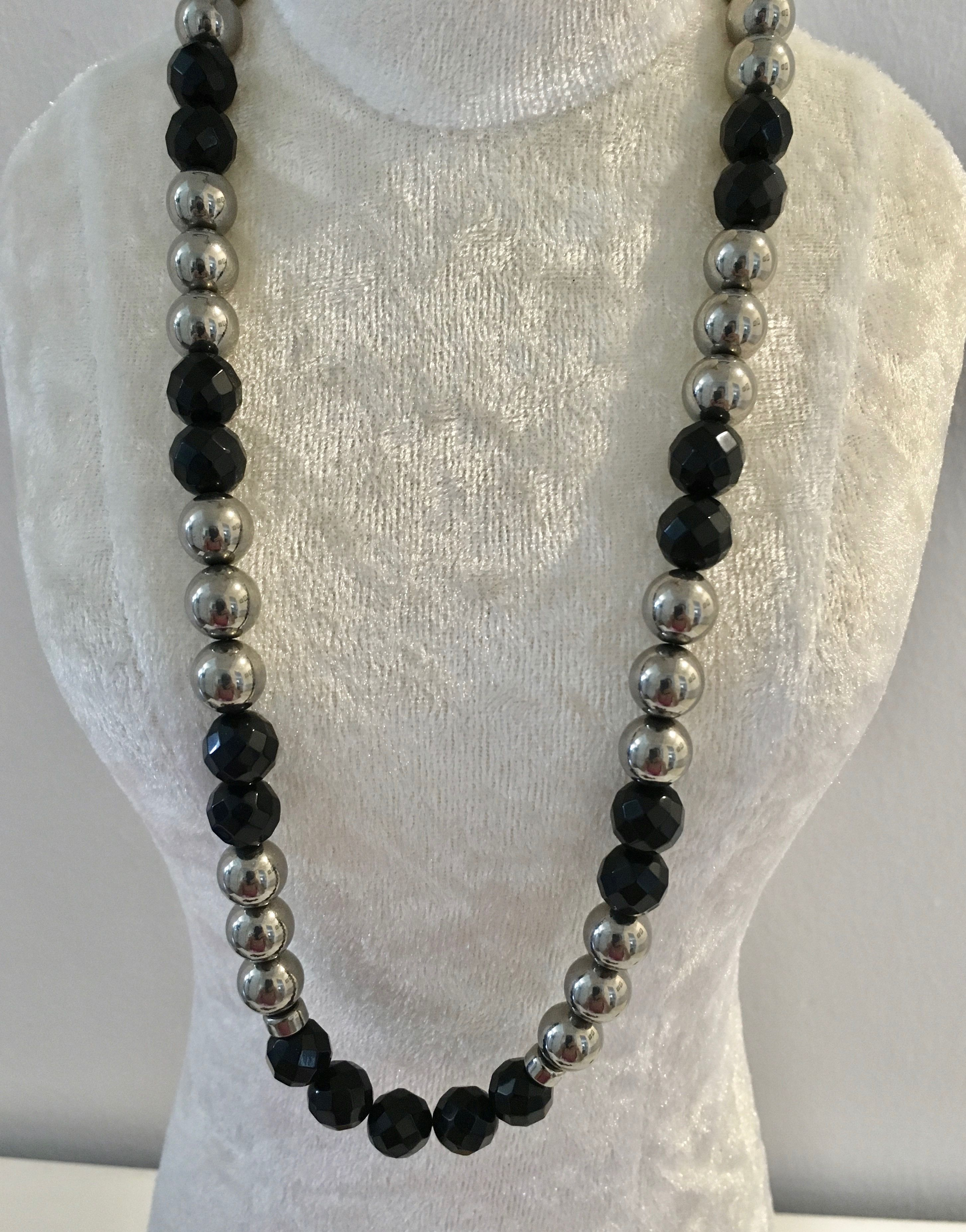 Onxy and Sterling Silver Beads Necklace $140 Check out - Belle4ever.com
