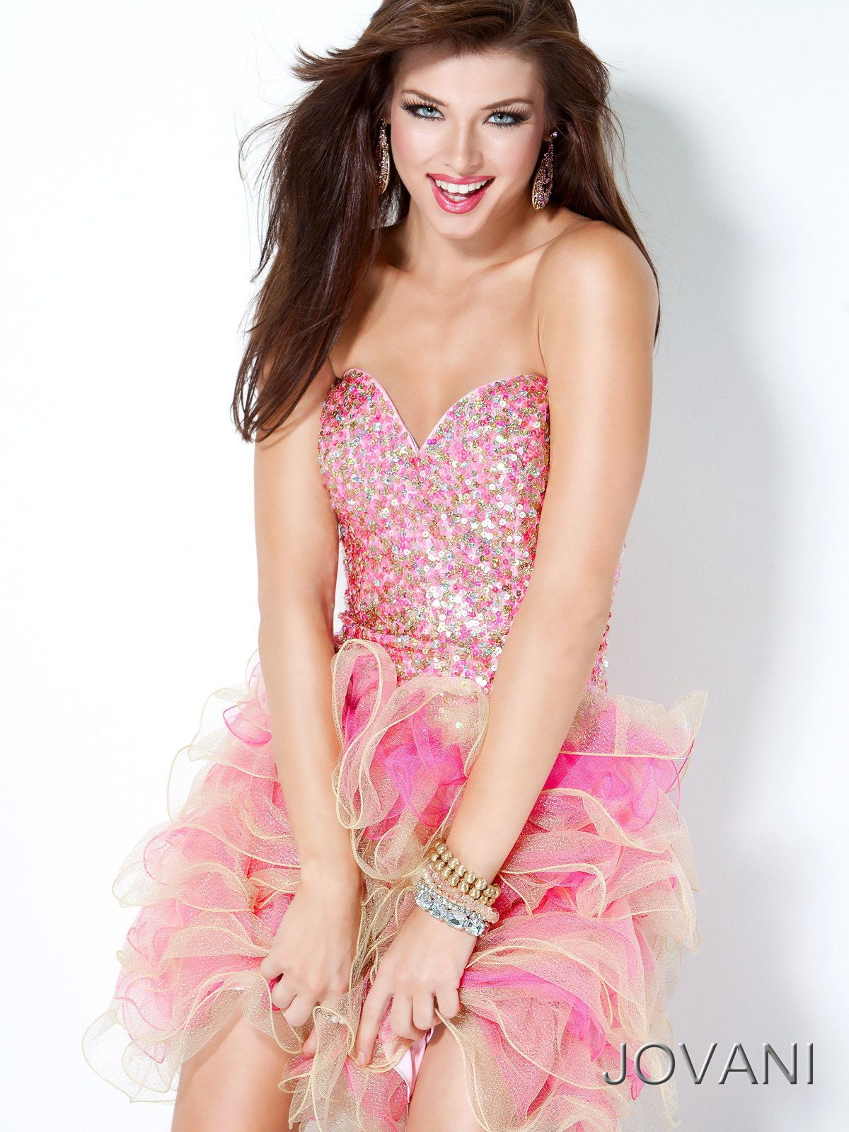 Pink/Gold Sequin Short Prom Dress Jovani 30061 | Quinceañera Event ...