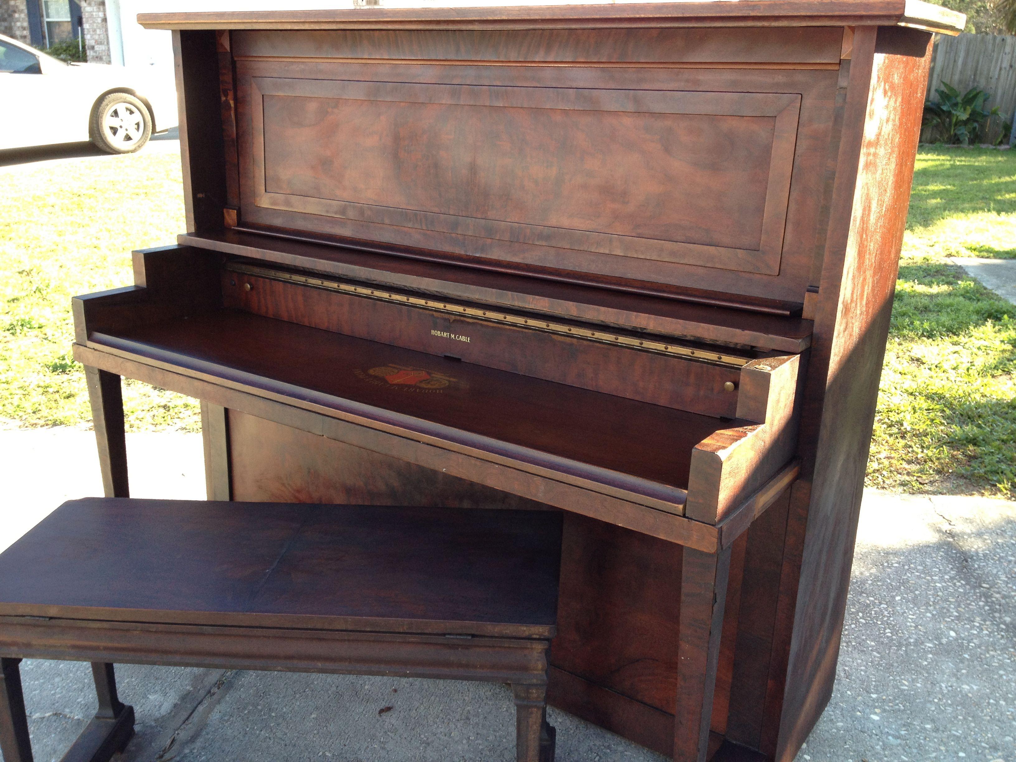1909 Hobart M Cable Upright Grand Piano Re Purposes Into A Desk Amazing Piano Upright Grand Piano Piano Desk