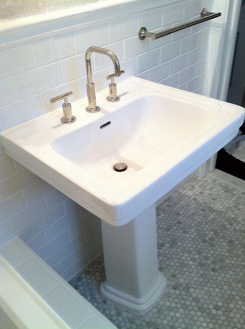 kohler purist faucet pedestal sink