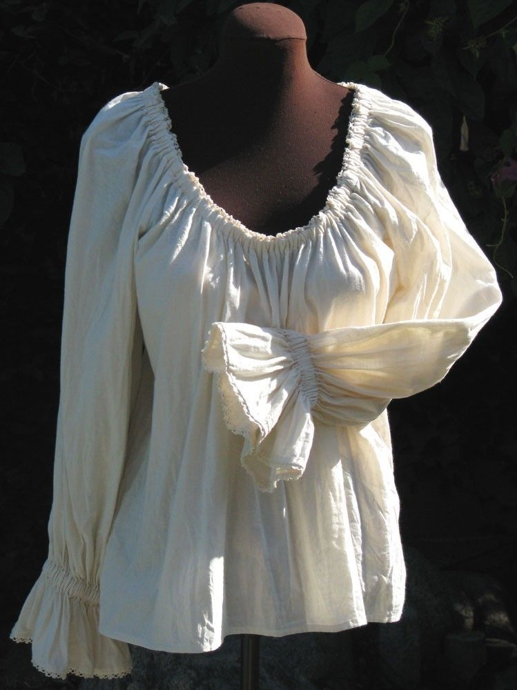 Hip Length And Lace Trimmed Pirate Wench Peasant Blouse Size Xl