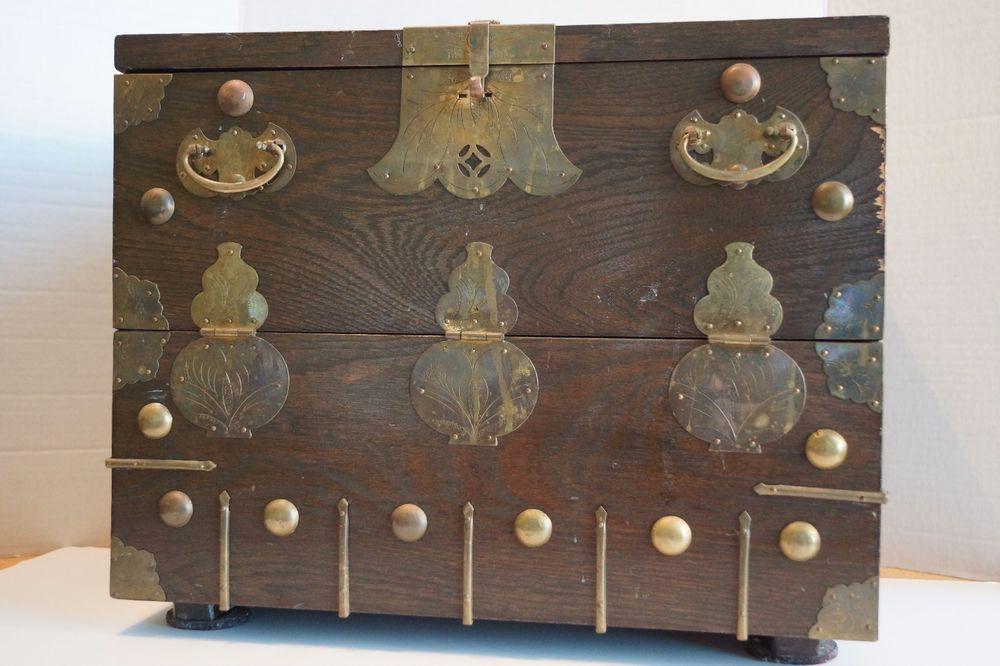Superbe Vintage Chinese Hardwood Storage Chest Dark Wood 2 Internal Drawers Drop  Front #Chinese