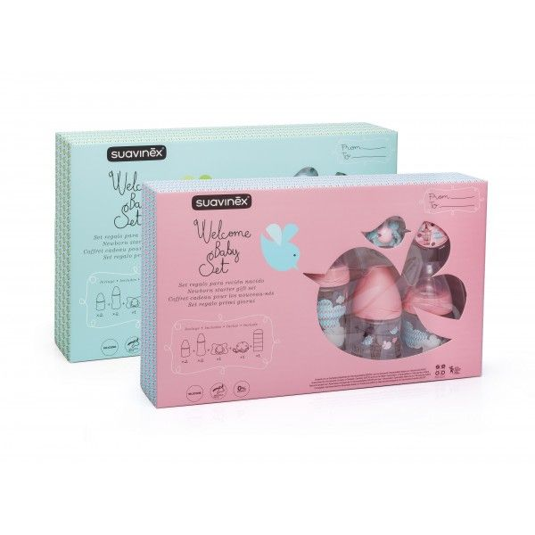 Suavinex Welcome Baby Girl Pack de 4 Biberons Doseur de Lait Rose Sucette Attache Assortie