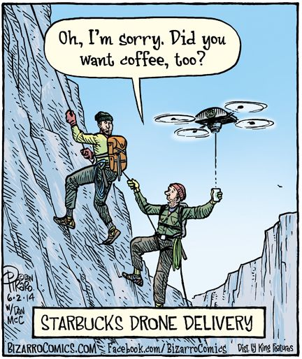 Image result for coffee by drone cartoon