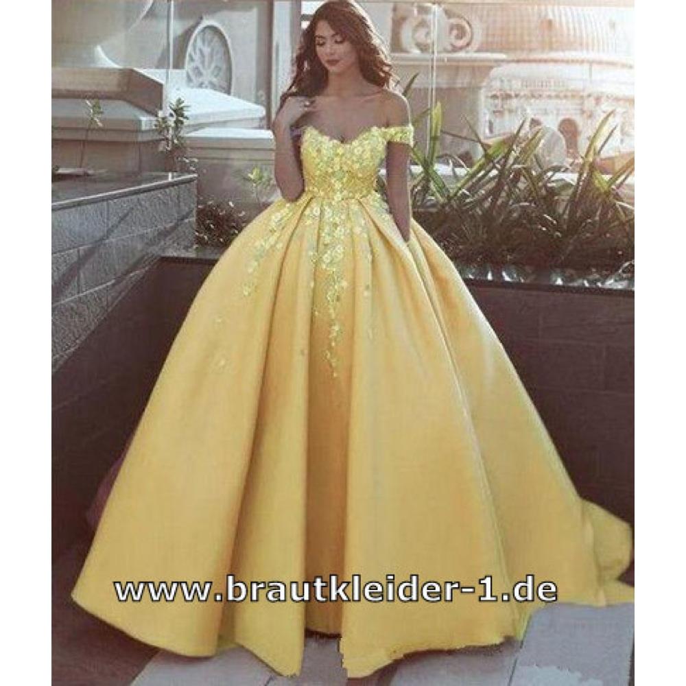 schulterfreies blumen brautkleid hochzeitskleid in gelb